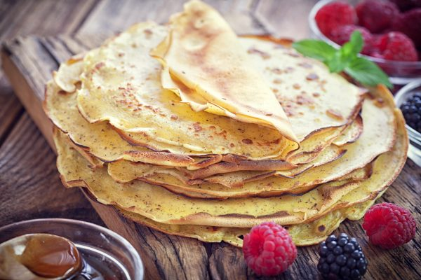 Pancake - Crepes with berries, mint and honey