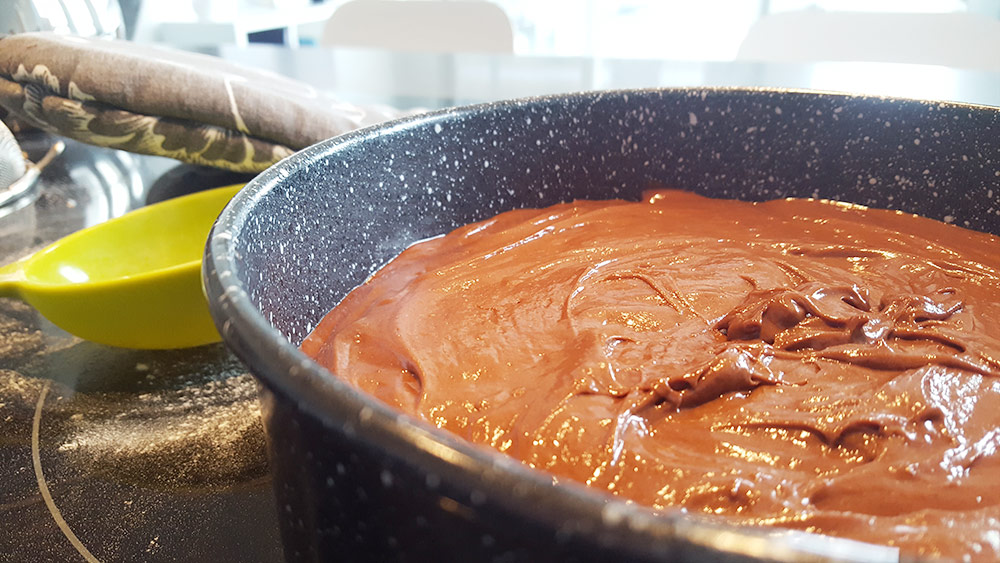 Chocolate cake batter has the consistency and color of Nutella